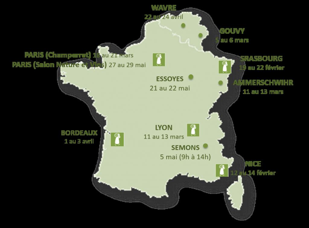 Carte des salons Printemps 2016 du Domaine du Jas - France et Belgique